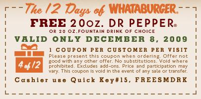 Free 20 oz. Fountain Drink at Whataburger