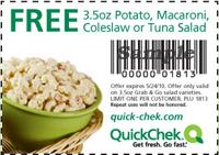Quick Chek Tuna Quickchek: FREE Potato, Macaroni, Coleslaw or Tuna Salad
