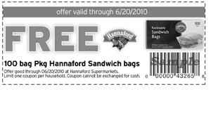 Hannaford Coupon FREE 100 Pack Sandwich Bags Coupon at Hannaford
