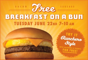 Whataburger Freebie w350 h200 Whataburger: FREE Bacon or Sausage Breakfast on a Bun June 22 (Reminder)