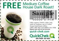 QuickChek Free Coffee Quick Chek: FREE Cup of Coffee House Dark Roast