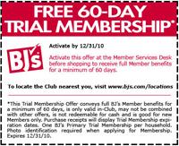 Membership BJs Wholesale Club FREE 60 Day Membership BJs Wholesale Club