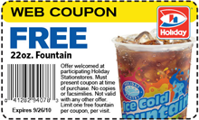 coupon fountain FREE Fountain Drink at Holiday Station Stores