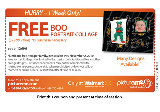 Picture FREE Boo Portrait Collage at PictureMe Portrait Studios at Walmart ($29.99 Value)