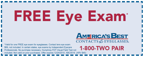 dbcd3d4f3e5 Get a FREE Eye Exam at America s Best Contacts   Eyeglasses expires  December 24.