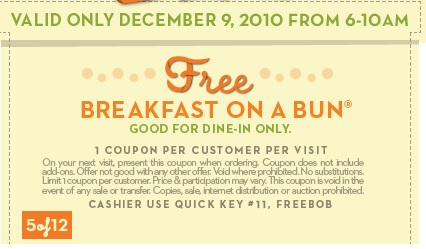 image about Whataburger Printable Coupons identified as No cost Breakfast upon a Bun at Whataburger upon 12/9 - Hunt4Freebies