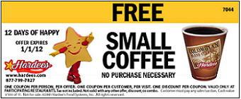 FREE Small Cup Of Coffee at Hardees FREE Small Cup Of Coffee at Hardees