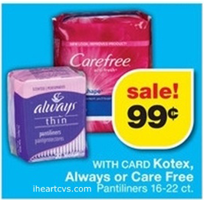 CVS kotex FREE U by Kotex Liners at CVS