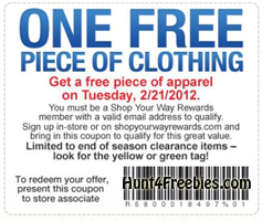 Sears Apparel Coupon 2 21 FREE Piece Of Apparel at Sears Outlet Stores  Today Only (2/21)