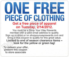 Sears Outlet Clothing Coupon FREE Piece Of Apparel at Sears Outlet Stores  Today Only (2/14)