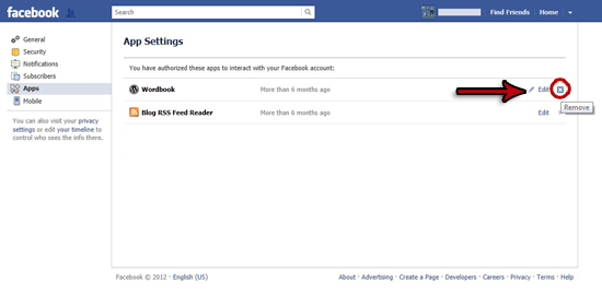 APP5 Removing a Facebook Application
