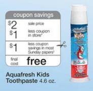 Walgreens Kids Toothpaste Walgreens: FREE Aquafresh Kids Toothpaste