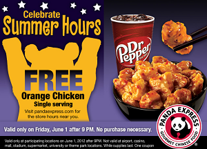 FREE Orange Chicken at Panda Express FREE Orange Chicken at Panda Express on June 1st