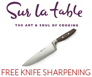 free knife sharpening at sur la table