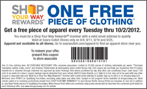 Sears free apparel coupon Sep FREE Piece Of Apparel at Sears Outlet Stores  Today Only (9/11)