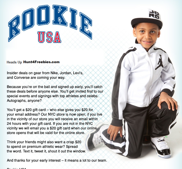 FREE $20 Rookie USA Gift Card