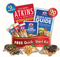 Atkins1 3 FREE Atkins Bars, Quick Start Kit and Recipe Book