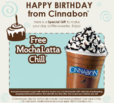 Cinnabon MochaLatta Chill FREE MochaLatta Chill For Your Birthday at Cinnabon