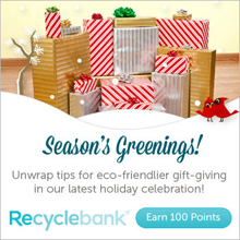 RB Greener Gifts 100 FREE RecycleBank Points From Holiday Celebration