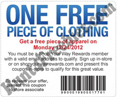 Sears Clothing 12 24 FREE Piece Of Apparel at Sears Outlet Stores  Today Only (12/24)