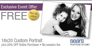 FREE 16x20 Portrait at Sears Portrait Studio ($85 Value