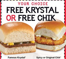 image relating to Krystal Printable Coupons titled Cost-free Krystal Burger or Rooster Sandwich - Hunt4Freebies