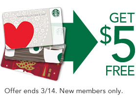 Starbucks Card FREE $5 Added to Starbucks Card for New Members