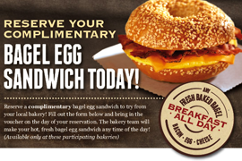 Brueggers Bagel Egg Sandwich FREE Bagel Egg Sandwich at Brueggers (NC & OH)
