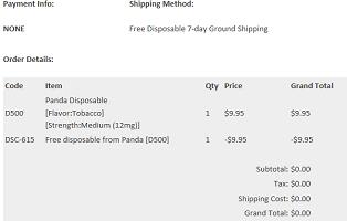 Panda E-Cigarette Order