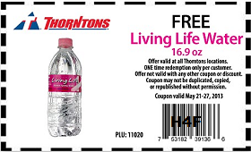 FREE Living Life Water at Thorntons FREE Bottle of Living Life Water at Thorntons Stores