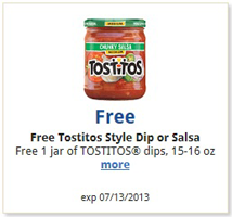 FREE Tostitos Dip or Salsa at.
