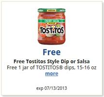 Kroger Tostitos Style Dip or Salsa FREE Tostitos Style Dip or Salsa at Kroger Stores
