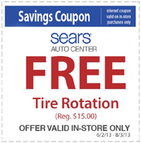 Sears Tire Rotation Coupon FREE Tire Rotation at Sears Auto Center