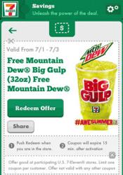 7 Eleven Big Gulp FREE Mountain Dew Big Gulp at 7 Eleven