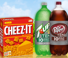 Cheez It Dr Pepper TEN or 7UP TEN FREE Box of Cheez It Cracker & Dr. Pepper Ten or 7 Up Ten 2 Liter at Safeway