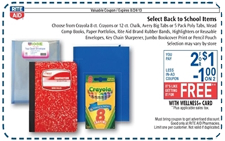 Rite Aid InAd Coupon FREE School Supplies at Rite Aid on 8/18 8/24