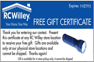 RC Willey Flashlight FREE Flashlight at RC Willey Stores
