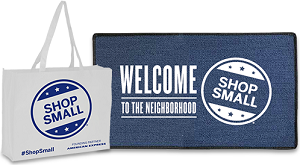 Shop Small Welcome Mat and Shopping Bags