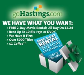 Hastings movie rentals FREE 2 Day Movie Rentals At Hastings Stores (12/24)