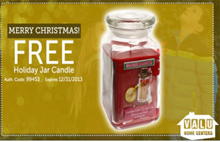 Free Holiday jar Candle at Valu Home Centers