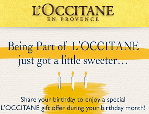 Free loccitane gift during your birthday month hunt4freebies loccitane birthday gift negle Images