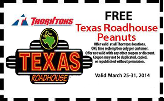 picture regarding Texas Roadhouse Printable Coupons called No cost Texas Roadhouse Peanuts at Thorntons - Hunt4Freebies