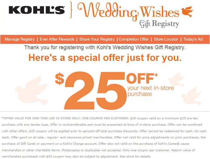 Kohl S Gift Registry Wedding: FREE $25 Off $25 Purchase At Kohl's When You Create A