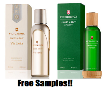 FREE Frangrance Samples FREE Victorinox Swiss Army Victoria & Forest Fragrance Samples
