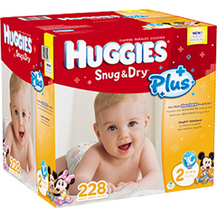 HUGGIES Snug and Dry Plus Diapers FREE Huggies Diapers and Wipes Sample Pack for Costco Members