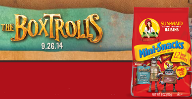 The Boxtrolls Sun Maid's The Boxtrolls Back To School Movie Ticket Giveaway (5,000 Prizes)