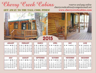 Cherry Creek Cabins Magnetic Calendar FREE 2015 Magnetic Calendar