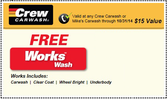 Free works car wash at mikes or crew carwash 15 value mikes carwash coupon fandeluxe Gallery