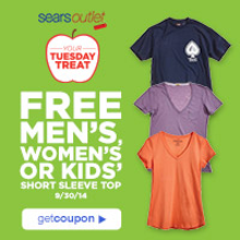 Sears Outlet Short Sleeve Top FREE Mens, Womens, or Kids Short Sleeve Top at Sears Outlet Stores on 9/30