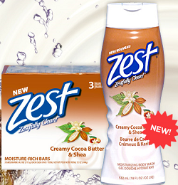 Zest Creamy Cocoa Butter Body Wash FREE Zest Cocoa Butter & Shea Body Wash and Bar Soap at 3PM ET